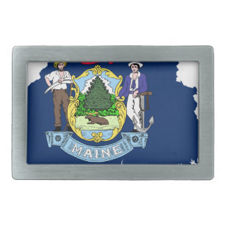 Flag Map Of Maine Rectangular Belt Buckle