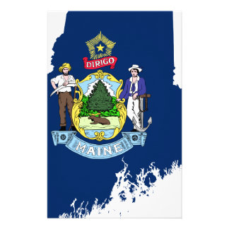 Flag Map Of Maine Stationery