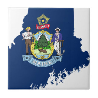 Flag Map Of Maine Tile