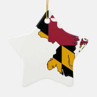 Flag Map Of Maryland Ceramic Ornament