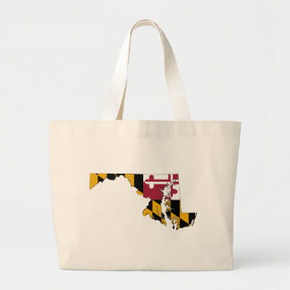 Flag Map Of Maryland Large Tote Bag