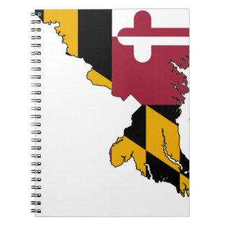 Flag Map Of Maryland Notebooks