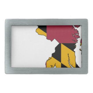 Flag Map Of Maryland Rectangular Belt Buckles