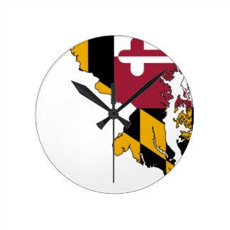 Flag Map Of Maryland Round Clock