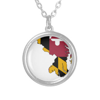 Flag Map Of Maryland Silver Plated Necklace