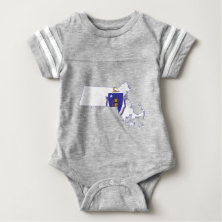 Flag Map Of Massachusetts Baby Bodysuit