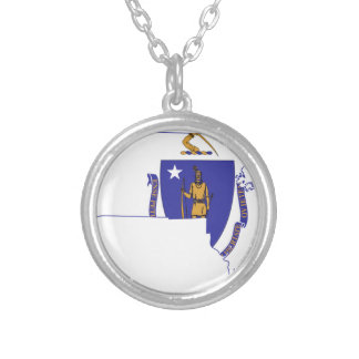 Flag Map Of Massachusetts Silver Plated Necklace