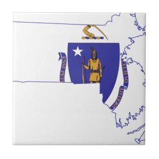Flag Map Of Massachusetts Tile