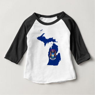 Flag Map Of Michigan Baby T-Shirt