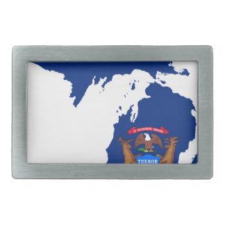 Flag Map Of Michigan Belt Buckle