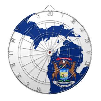 Flag Map Of Michigan Dartboard