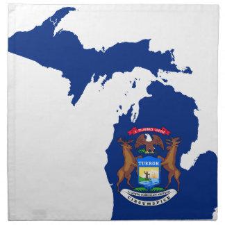 Flag Map Of Michigan Napkin