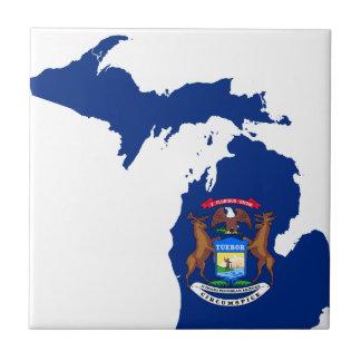 Flag Map Of Michigan Tile