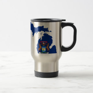 Flag Map Of Michigan Travel Mug