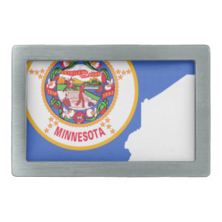 Flag Map Of Minnesota Rectangular Belt Buckles