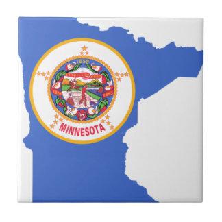 Flag Map Of Minnesota Tile