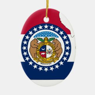 Flag Map Of Missouri Ceramic Ornament