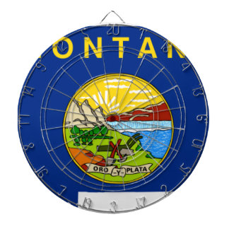 Flag Map Of Montana Dartboard