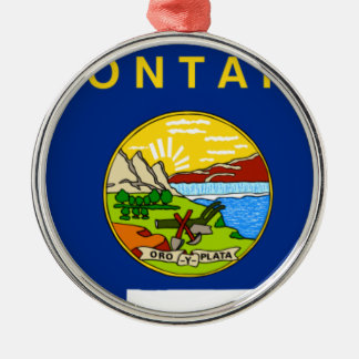 Flag Map Of Montana Metal Ornament