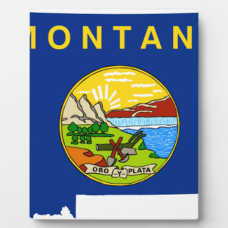 Flag Map Of Montana Plaque
