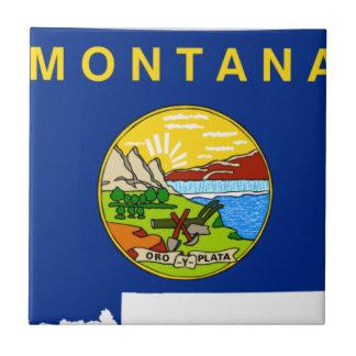 Flag Map Of Montana Tile