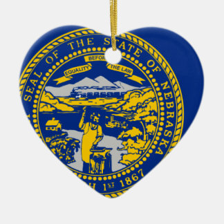 Flag Map Of Nebraska Ceramic Ornament