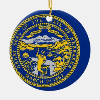Flag Map Of Nebraska Ceramic Ornament