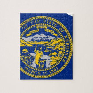 Flag Map Of Nebraska Jigsaw Puzzle