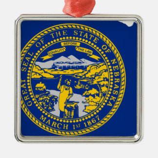 Flag Map Of Nebraska Metal Ornament