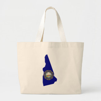 Flag Map Of New Hampshire Large Tote Bag