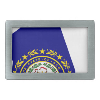 Flag Map Of New Hampshire Rectangular Belt Buckles