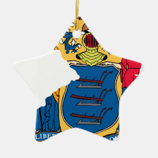 Flag Map Of New Jersey Ceramic Ornament
