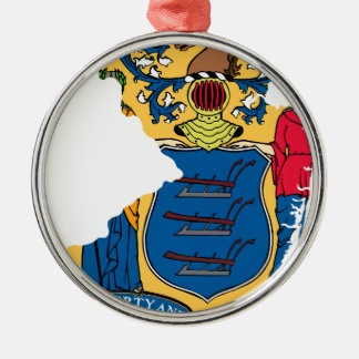 Flag Map Of New Jersey Metal Ornament