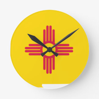 Flag Map Of New Mexico Round Clock