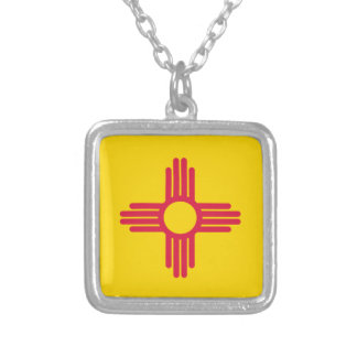Flag Map Of New Mexico Silver Plated Necklace