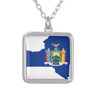 Flag Map Of New York Silver Plated Necklace