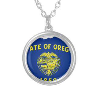 Flag Map Of Oregon Silver Plated Necklace