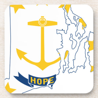 Flag Map Of Rhode Island Coaster
