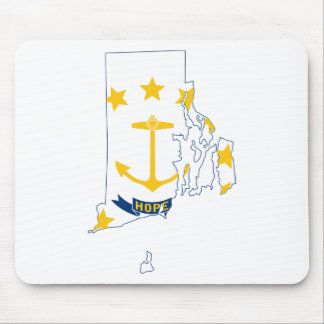 Flag Map Of Rhode Island Mouse Pad