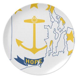 Flag Map Of Rhode Island Plate