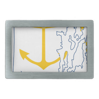 Flag Map Of Rhode Island Rectangular Belt Buckle
