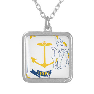 Flag Map Of Rhode Island Silver Plated Necklace