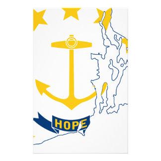 Flag Map Of Rhode Island Stationery