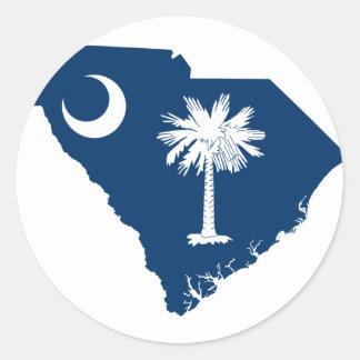 Flag Map Of South Carolina Classic Round Sticker