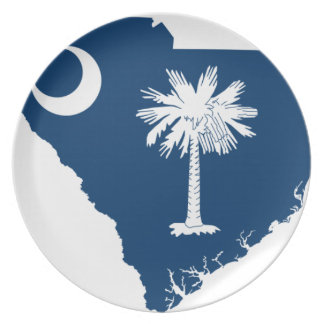 Flag Map Of South Carolina Plate