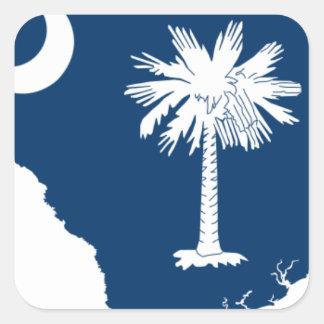 Flag Map Of South Carolina Square Sticker