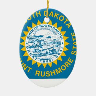 Flag Map Of South Dakota Ceramic Ornament