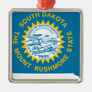 Flag Map Of South Dakota Metal Ornament