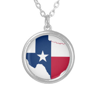 Flag Map Of Texas Silver Plated Necklace