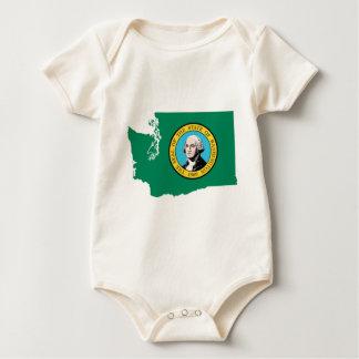 Flag Map Of Washington Baby Bodysuit